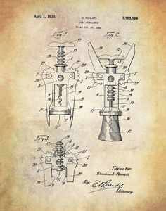 Vintage Cork Screw Patent Poster Print - Wine Art - Wine Tasting - Wine Poster- Bar Cork Screw - Ins Dom Quixote, Wine Poster, Patent Drawing, Wine Decor, Vintage Wine, Vintage Art, Vintage Girls, Vintage Black, Wine Art