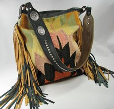 Authentic Vintage Turkish Kilim Large Tote Handbag with Fringe by Running Roan Tack