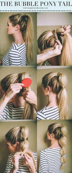 Usa tu largo para crear esta maravillosa cola de caballo inflada. | 30 Asombrosos peinados con los que no necesitas usar secador
