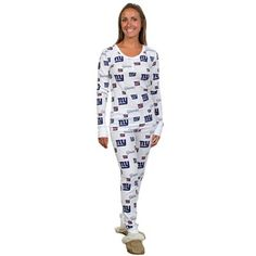 Jammin Jammies · New York Giants Ladies Uptown Henley Pajama Set - White Ny  Giants Game f1fbb182d