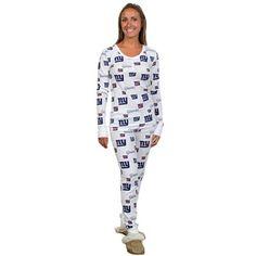 Jammin Jammies · New York Giants Ladies Uptown Henley Pajama Set - White Ny  Giants Game f1fbb182d