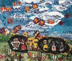 Ion Tuculescu, Păpușile, norul și fluturii Contemporary Art, Artwork, Painting, Artists, Pictures, Kunst, Work Of Art, Auguste Rodin Artwork, Painting Art