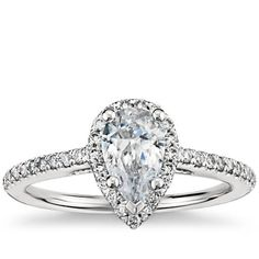 Pear Shaped Halo Diamond Engagement Ring in 18K White Gold Then just choose a Pear diamond between .95 - 1.08 ct