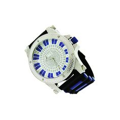 Blue iced out bezel silver plated watch