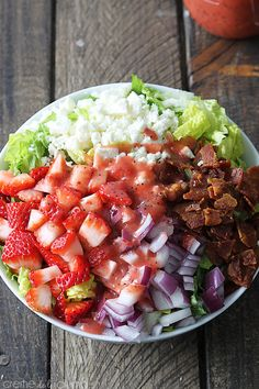 Strawberry Poppyseed and Bacon Chopped Salad - Creme De La Crumb (omit onion and garlic, and use a LF cheese)