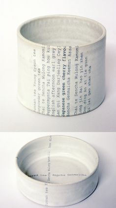 type cup ( simple but so effective with the graphics placed upon the ceramics)