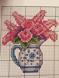 Sürahi Mini Cross Stitch, Cross Stitch Cards, Cross Stitch Flowers, Cross Stitching, Cross Stitch Embroidery, Cross Stitch Patterns, Antique Glass Bottles, Stitch 2, Quilt Blocks