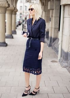 Tuck a blazer into your pencil shirt | This Blogger Has the Best Quick Outfit Ideas via @WhoWhatWear