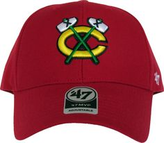 Chicago Blackhawks 47 Brand MVP Adjustable NHL Cap. Red with the Blackhawks front logo, the 47 Brand side logo, the CHICAGO BLACKHAWKS rear strap logo, and the