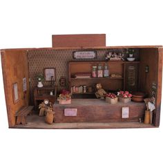 Vintage Doll House Grocery Store Trading Post  with Vintage Doll House Accessories Folk Art