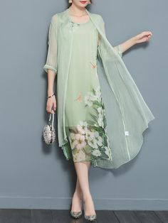 a837891c23e1 Chinese Style Silk Floral Print Two Pieces Set Vintage Dresses Summer Fall