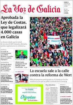 Los Titulares y Portadas de Noticias Destacadas Españolas del 10 de Mayo de 2013 del Diario La Voz de Galicia ¿Que le parecio esta Portada de este Diario Español?