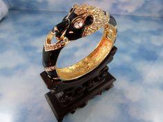 Signed Giorgio Jet Enamel & Crystal Jaguar Cuff Bracelet from butterflyblue on Ruby Lane