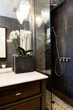 STEINBERG DESIGN   100 year old 3 story home  Guest Bathroom - Contemporary with Traditional and Bling elements
