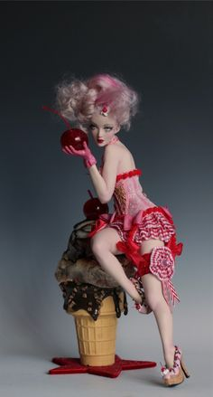 CHERRY A LA MODE - Ice cream pin up ooak sculpture by Nicole West