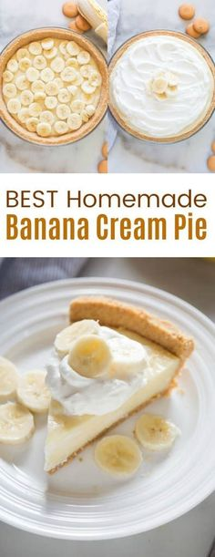 Homemade Banana Cream Pie with no box-pudding mix! A delicious homemade custard filling that holds together perfectly, layered inside a nilla wafer crust. via Lauren {Tastes Better From Scratch} recipes desserts homemade Köstliche Desserts, Delicious Desserts, Dessert Recipes, Yummy Food, Banoffee Pie, Cream Pie Recipes, Tart Recipes, Cupcakes, Homemade Banana Cream Pie