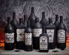 This is an Instant Download of 7 spooky apothecary Halloween labels. The labels read: Eye of Cyclops Bat Wings Frogs Breath Raven feathers Witchs