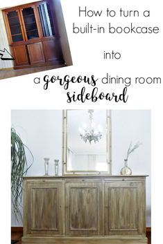 how-to-turn-a-built-in-bookcase-into-a-gorgeous-dining-room-sideboard Chalk Paint Projects, Diy Craft Projects, Fun Crafts, Dining Room Sideboard, Project Board, Built In Bookcase, Furniture Makeover, Cabinet, Storage