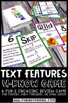 Nonfiction text features U-KNOW review game is the perfect test prep activity for upper elementary!  This review game is similar to UNO and can be taught quickly and used over and over again to spiral the standards!  Perfect to use during literacy centers, small group, early finishers and even indoor recess.  Reviews graphic features, print features, organizational aids