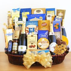 Gift Perfect Gift Baskets - Sparkling Celebrations Gourmet Basket, $199.99 (http://www.giftperfectgiftbaskets.com/sparkling-celebrations-gourmet-basket/)
