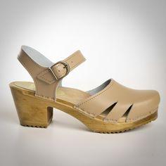 Side Slit Sandals - Swedish Clogs - Mid Heel - Sven Style # 54-223