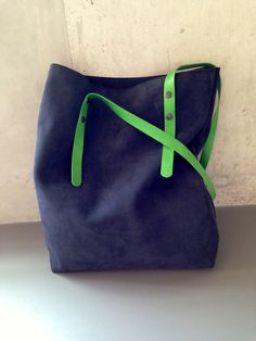 KP#1310 shopper blue suede leather, with green adjustable straps