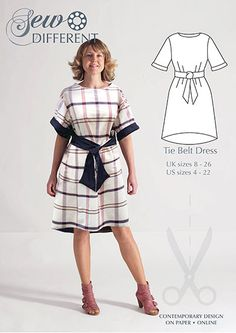 Tie Belt Dress – Multisize sewing pattern for women. Available on paper or to download. Very easy with lots of scope for different fabric. Have a look on the blog for inspiration.