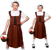 $20 Ebay. Kids Tudor Peasant Girl Costume Brown Victorian Fancy Dress Outfit #WickedCostumes #TopwithWaistcoatSkirtMopCap