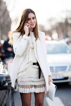 This white-on-white street style look is giving us major envy.