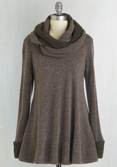Optimal Adorable Sweater. Take your cute coziness to the next level by sliding on this brown sweater, which comes with a coordinating infinity scarf. #brown #modcloth