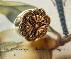 Art Deco Adjustable Ring  Vintage Inspired by evesgardengate