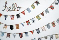 """Fabric wrapped """"hello"""" and no sew pennants. Must find some place for these crafty inspirations"""