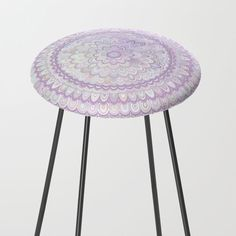 Mandala Flower in Pastel Pink and Light Blue Counter Stool by David Zydd Counter Stools, Bar Stools, Bohostyle, Flower Mandala, Mandala Coloring, Pastel Pink, White Flowers, Furniture Design, Light Blue