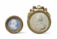 TWO MEDALLIONS IN THE BISCUIT OF THE EIGHTEENTH CENTURY, BRONZE FRAMES GOLDEN  ON THE REVERSAL OF ONE OF THE ENTRIES Marquis JJ de Laborde / 1724-1794