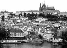 Czech Praha Prague Medieval church castle river black n white canvas prints art