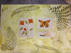 Hand-Painted Floorcloth with ferns, flowers & butterfly - 2' x 3' - $180.00 See more designs @ Dawn Cassara's Artful Treasures on Etsy & Facebook
