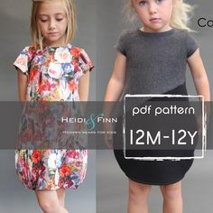Cocoon dress PDF pattern and tutorial 12m-12y tunic dress