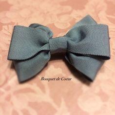 ハンドメイドヘアアクセサリー♡ グレーリボンのバレッタ  http://s.ameblo.jp/bouquet-de-coeur/entry-11970981230.html  Handmade gray ribbon barrette
