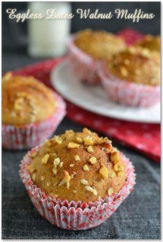 Eggless Dates Walnut Muffins Recipe Eggless Biscotti Recipe, Eggless Muffins, Easy Breakfast Muffins, Baking Cupcakes, Muffin Recipes, Dates, Cooking Recipes, Food, Essen
