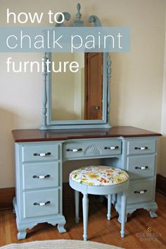 How to Chalk Paint Furniture Have you wondered what all the fuss is about when it comes to chalk paint? Here's a step by step DIY chalk paint tutorial that shows you how to pain furniture. It also shares our favorite parts of chalk paint, and why we woul Chalk Paint Furniture, Furniture Projects, Furniture Decor, Modern Furniture, Furniture Design, Office Furniture, Diy Projects, Brown Furniture, Furniture Stores