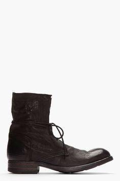 Officine Creative Black Buffed Leather Cavallo Wash Boots