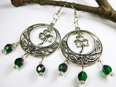 Celtic Clover Earrings With Emerald AB Czech by MURPHYSTREASURES2
