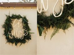 Brogen Jessup Photography   custom monogram for reception with a wreath of greens and ferns