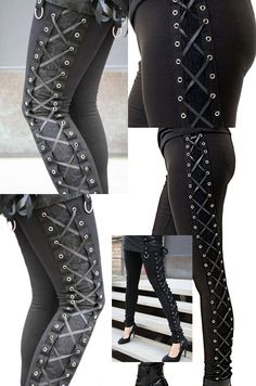 Best of Gothic Range - The Poizen Industries, Vixxsin Corset Leggings. Ladies Tight Black Cotton Leggings with lace overlayer side panel (not see-through) and corset style ribbon lacing through eyelets down the outside of each leg. The leggings have an elasticated waist.
