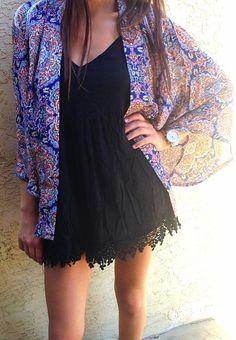Black dress and colorful kimono