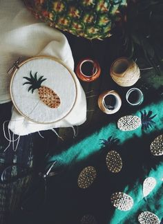 pineapple embroidery by yumiko higuchi