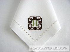 Hemstitched Linen Dinner Napkin, Monogrammed