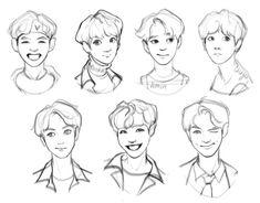 Bts Fanart—credit to the artist Boy Hair Drawing, Manga Drawing, Kpop Drawings, Art Drawings Sketches, Hair Reference, Art Reference Poses, Manga Hair, Anime Boy Hair, Character Art