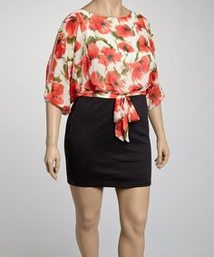 Coral Poppy Plus-Size Dress by Clothing Showroom on #zulily