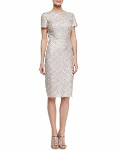 Short-Sleeve Sequined Cocktail Dress by David Meister Signature at Bergdorf Goodman.